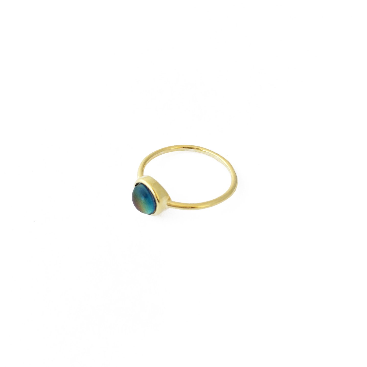HONEYCAT Mood Ring in Gold, Rose Gold Silver | Minimalist, Delicate Jewelry (Gold 5)