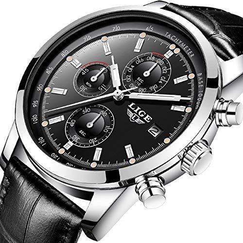 Watches Fashion Waterproof Analog Quartz Watch Top Brand LIGE Wristwatch Casual Sport Black Leather Chronograph Watch Business Dress Date Clock ...