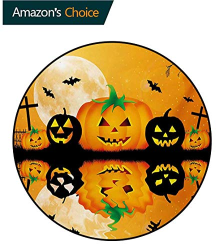 RUGSMAT Halloween Modern Machine Washable Round Bath Mat,Spooky Carved Halloween Jack O Lantern and Full Moon with Bats and Grave Lake Non-Slip Soft Floor Mat Home Decor,Round-47 Inch