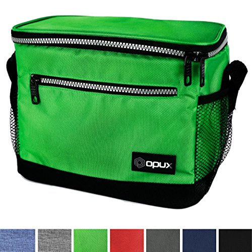 Premium Insulated Lunch Bag with Shoulder Strap by OPUX | Perfect For Kids, Men, Women, Work, School, Office | Soft Leak Proof Liner | Medium Capacity Lunch Box | Easily Fits 6 Cans (Green)