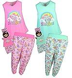 BFF & ME Girls 4 Piece Jogger Pajama Set with Matching Doll Pajamas, Unicorn, Size 6/6X'