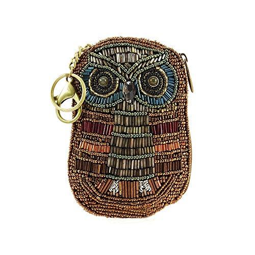 MARY FRANCES Owlsome Beaded Owl Coin Purse/Key Fob