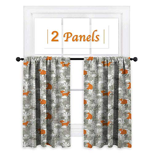 Sage Double Sconce - Fox, Bedroom Curtains, Fox in The Winter Forest Abstract Cartoon Trees and Nature Animal Pattern, Curtain Liners for Drapes Blackout, W72 x L63 Inch Pale Sage Green Orange