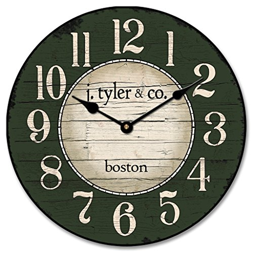 Boston Harbor Green Wall Clock, Available in 8 sizes, Most Sizes Ship 2-3 days, Whisper Quiet. For Sale