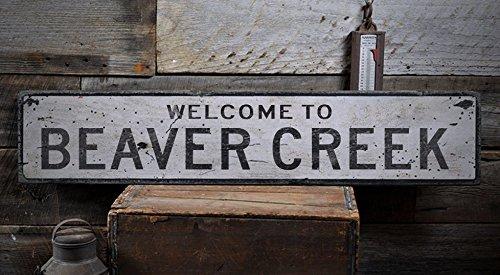 Welcome to BEAVER CREEK - Custom BEAVER CREEK, NORTH DAKOTA US City, State Distressed Wooden Sign - 11.25 x 60 - Creek Gift Beaver Shop