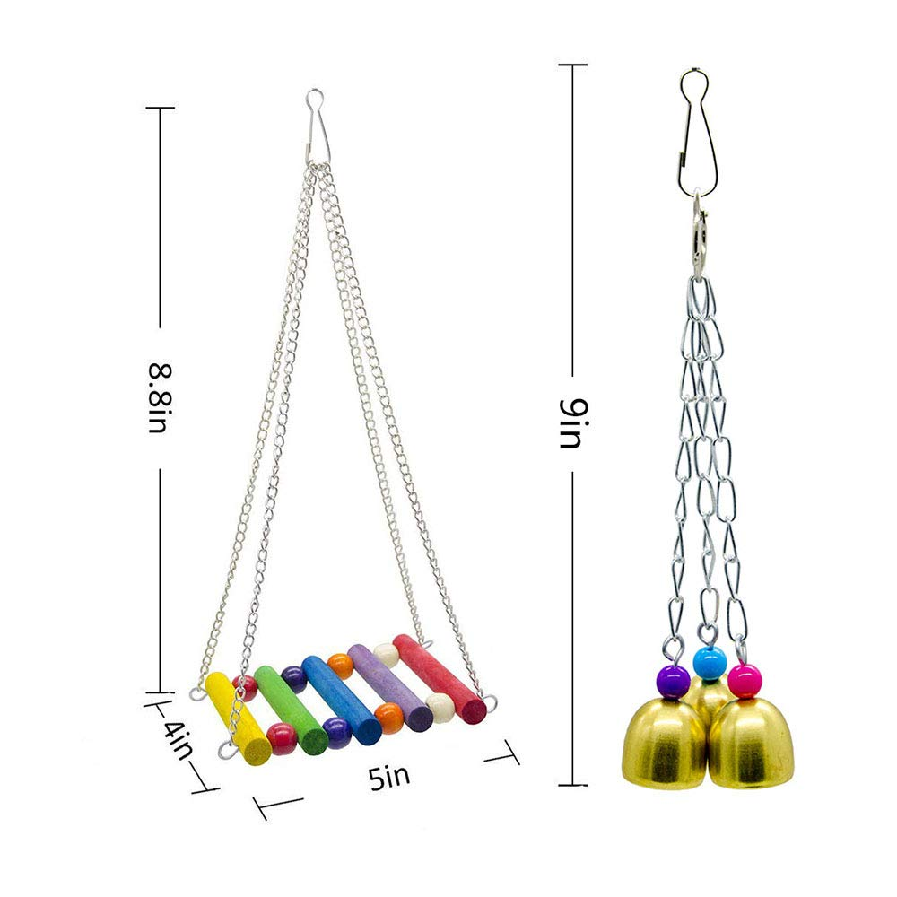 PIVBY Bird Swings Toys Parrot Perches cockatiels Chew Ladder Toy Hanging Bell Pet Bird Cage Hammock Toys for Small Parakeets,Cockatiels,Conures and Love Birds Pack of 6