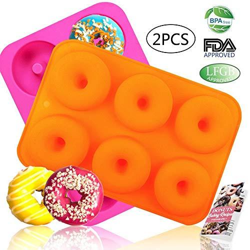 Pan Baking Donut - HEHALI 2pcs 6-Cavity Silicone Donut Baking Pan/Non-Stick Donut Mold with Recipe, Dishwasher, Oven, Microwave, Freezer Safe