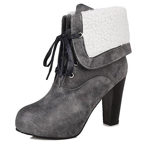 VogueZone009 Damen Blend-Materialien Rund Zehe Hoher Absatz Stiefel, Grau-Wasserdicht Plattform, 37