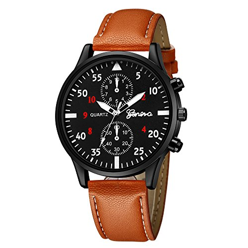 HiGOGO Luxury Men's Two Timer Dials Design Watch Leather Strap Quartz Wrist Watches Analog Slim Dial Casual Business Watches Gift Geneva (Brown/Black)