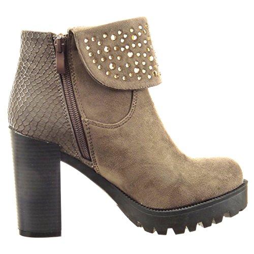 Sopily - Chaussure Mode Bottine Plateforme Cheville femmes Peau de serpent strass diamant réversible Talon haut bloc 10 CM - Taupe