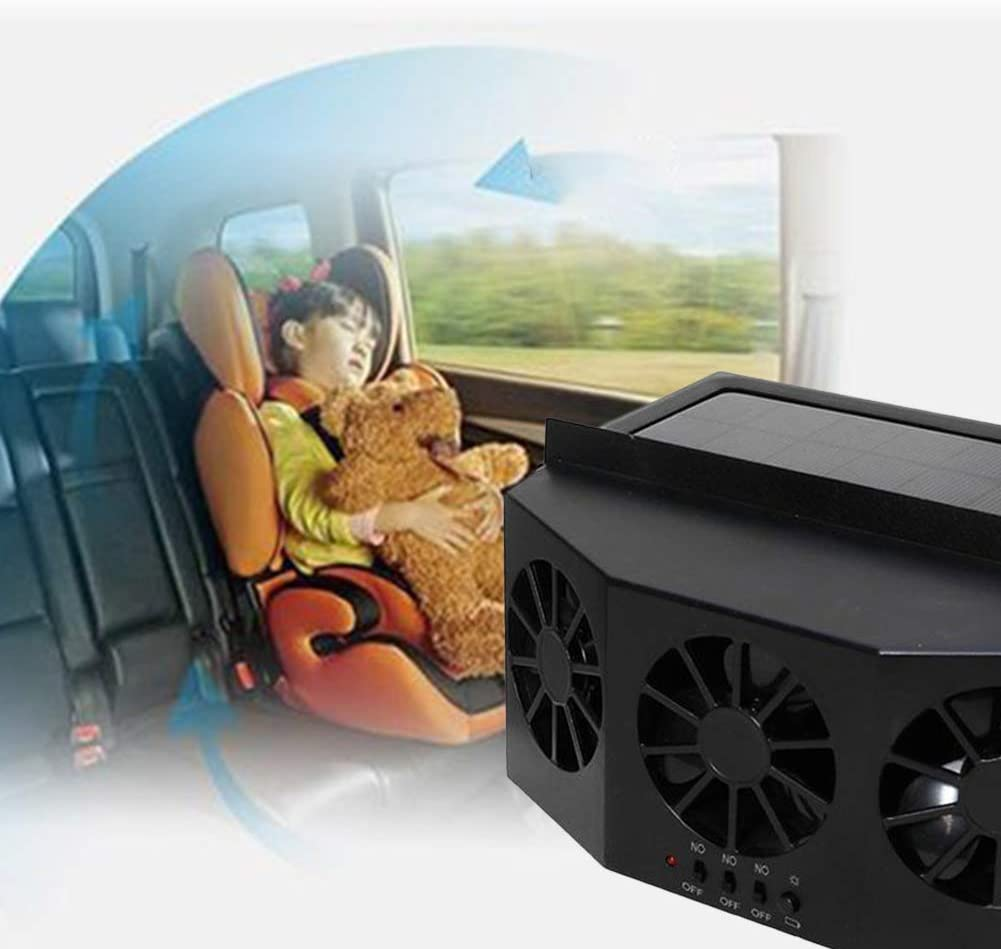 Black SELLMORE Solar Powered Car Ventilator Car Radiator,Eliminate The Peculiar Smell Inside The Car and Can Be Used for General Types of Cars Solar Powered Car Exhaust Fan