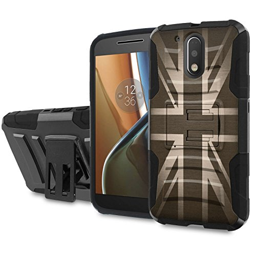 Moto [G4] [G4 Plus] Armor Case [SlickCandy] [Black/Black] Heavy Duty Defender [Holster] - [British Flag] for Motorala G [4th Gen] [G4 XT1625] [G4 Plus XT1644] -  SlickCandy for Moto [G4] [G4 Plus], P-MOTOG4-1E6-BKBK-CBT-P024C
