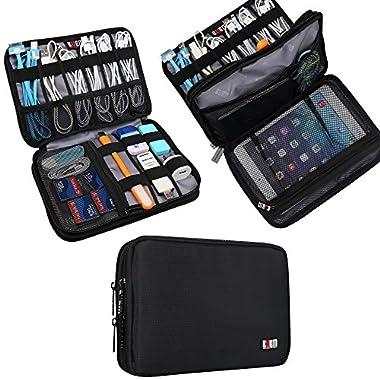 BUBM Double Layer Travel Gear Organizer / Electronics Accessories Bag (Medium, Black)