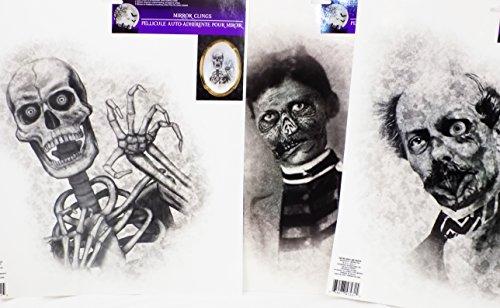 Scary Large Picture Halloween Mirror Clings Zombie Skeleton Vampire (Set of (Halloween Vampire Photos)