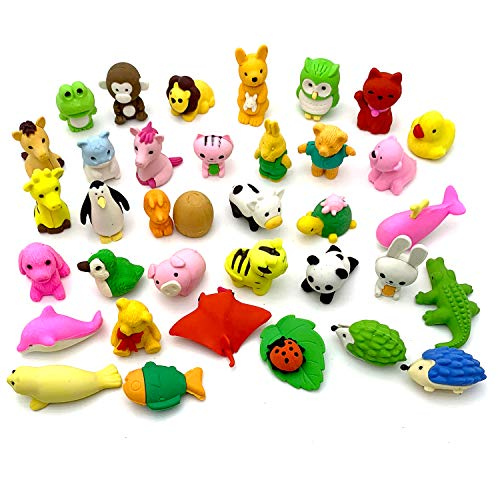 YETOOME 30 Puzzle Take Apart Animals Erasers Collectible Set of Adorable Japanese Style Novelty Pencil Eraser Toys Variety Gift Party Favors Games for -