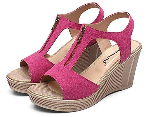Aisun Fermeture Eclair Sandales Mode Ruée Rouge Fille Style Femme Plateforme raqOrw