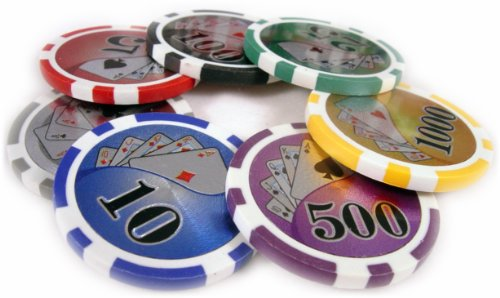 500 14g Dollar High Roller Casino Poker Chips Set Model BIG NUMBER With Aluminum Case by PokerBuddy