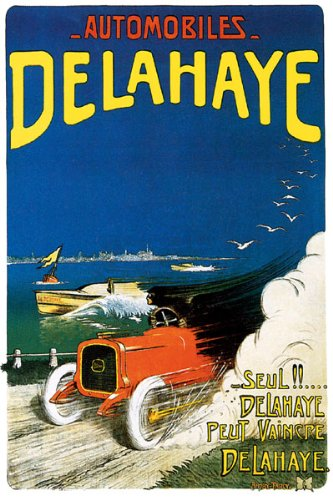 automobile-delahaye-french-car-racing-speedboat-large-vintage-poster-repro