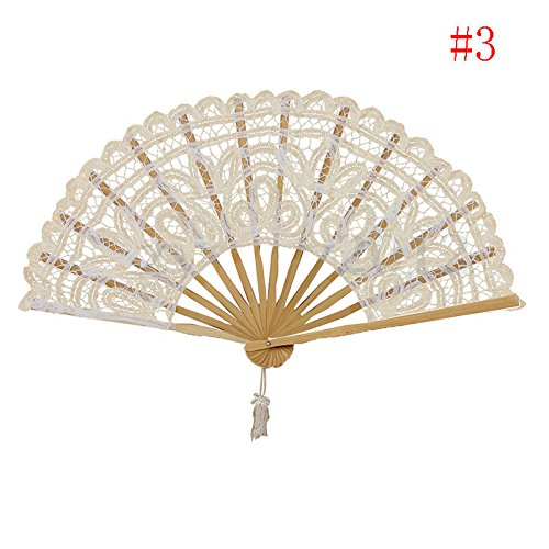 Rice White Chinese Spanish Style Lace Folding Hand Held Dance Fan Party Fan Hot Sell Nice