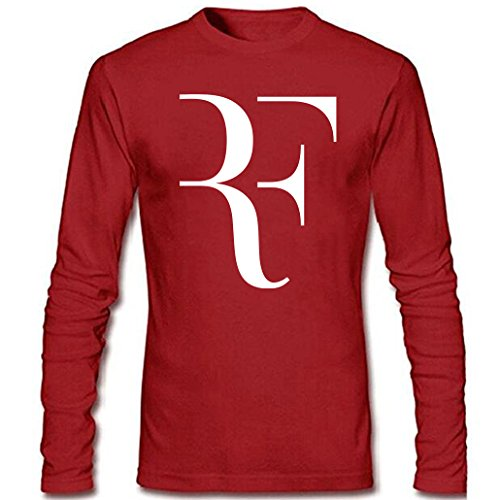 CIN-FAN Men's Tennis Player RF Shirt Long Sleeve (Red Medium)