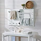 Wall Mount Classic White Clothing Drying Rack Clothes Hanger Cabinet Laundry Room Air Dry