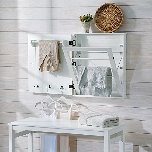 Wall Mount Classic White Clothing Drying Rack Clothes Hanger