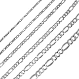 Gold Chain by Joule Shop | 10K Solid White Gold Figaro Chain | Necklace Jewelry for Men & Women | 6mm width | 20