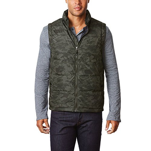 32 Degrees Heat Weatherproof Men's Packable Down Vest, Dark Camouflage, Small