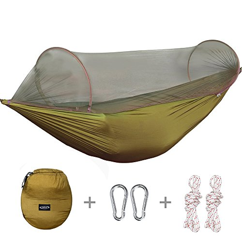 Medium image of g4free portable camping hammock mosquito   hammock tent capacity 400 pounds outdoor tree hammocks with 2