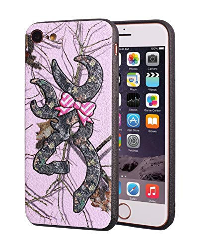 iPhone 7 Case,iPhone 8 Case,Browning Camo Deer Hunter with Pink Bow Design Slim Anti-Scratch Leather Grain Rubber Protective Case for Apple iPhone 7/iPhone 8 4.7 inch ()
