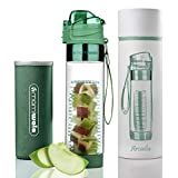MAMI WATA Fruit Infuser Water Bottle – Beautiful Gift Box – Unique Stylish Design - Free Fruit Infused Water Recipes eBook and Insulating Sleeve – 24oz (Arcadia)