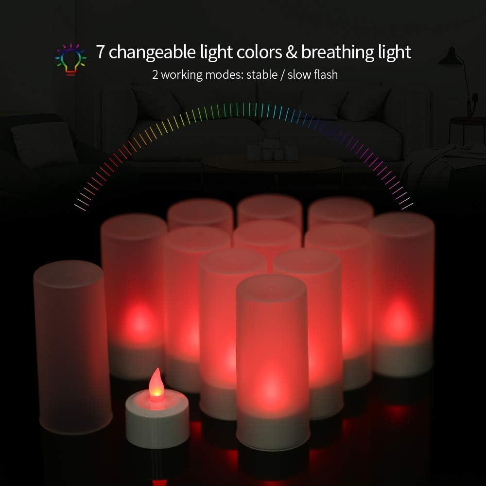 Juego de 12 Velas LED Recargables sin Llama Galapara 12-Pack /& EU Plug con Base de Carga para Festivales de Navidad con Mando a Distancia