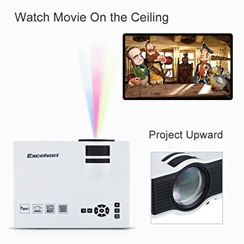 Excelvan UC40 - HD Mini LED Proyector Portátil Multimedia Cine Teatro (800 Lumenes, 800x480RGB, 1080HD, 4:3 16:9, 800:1, 1.07M Mini...