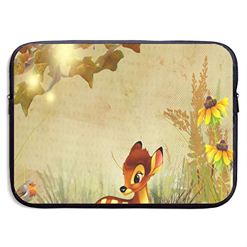 Laptop Bag Fall Bambi Autumn Flowers Stylish Tablet Computer Bag Fits 13 Inch or 15 Inch for Easter