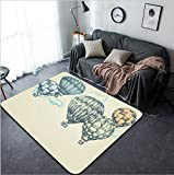 Vanfan Design Home Decorative Hot air balloons in the sky background Modern Non-Slip Doormats Carpet for Living Dining Room Bedroom Hallway Office Easy Clean Footcloth