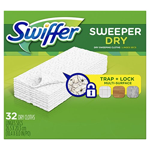 Swiffer Sweeper Dry Sweeping Pad Refills for Floor mop Unscented 32 Count (Pack of 3)
