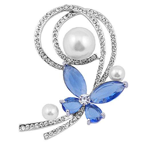 ALBEST Jewelry Women's Blue Zircon Butterfly Flower Design Pearl Brooches Pin, Silver ()