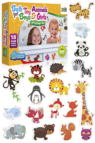 3 Bees & Me Animal Bath Toys for Boys and Girls - Fun Foam Animals with Bath Toy Storage Bag - 18 Piece Non Toxic Kids Bath ()