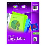 Avery Big Tab Insertable Plastic Dividers, 8.5 x 11 Inches, 5 Multi-Color Tabs, Laser/InkJet, 1 Set (11956)