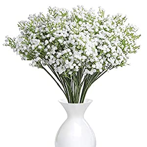 YSBER 10Pcs Baby Breath/Gypsophila Artificial Fake Silk Plants Wedding Party Decoration Real Touch Flowers DIY Home Garden(White) 92