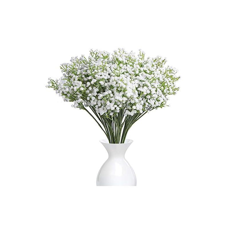 silk flower arrangements ysber 10pcs baby breath/gypsophila artificial fake silk plants wedding party decoration real touch flowers diy home garden(white)