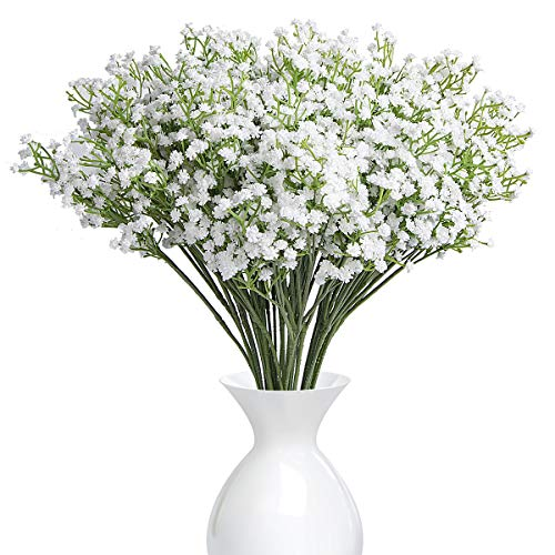 (YSBER 10Pcs Baby Breath/Gypsophila Artificial Fake Silk Plants Wedding Party Decoration Real Touch Flowers DIY Home Garden(White))