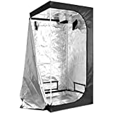 """iPower 36""""x36""""x72"""" 3'x3' Hydroponic Mylar Grow Tent with Observation Window, Tool Bag and Floor Tray for Grow Light and Indoor Plant Growing"""