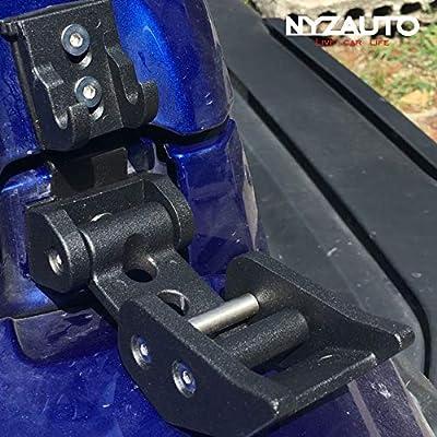 NYZAUTO Black Textured Aluminum-Alloy Hood Latch kit for Jeep Wrangler JK JKU, Hood Locking Catch kit Compatible with 2007-2020 Jeep Wrangler JK JKU: Automotive