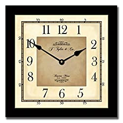 Waterford Square Wall Clock, Available in 7 sizes, Whisper Quiet, non-ticking