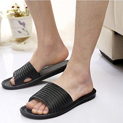 Fullkang Man Boy Durable Stripe Flat Bath Slippers Summer Sandals Indoor & Outdoor Slippers Black 2Kmf5wZ