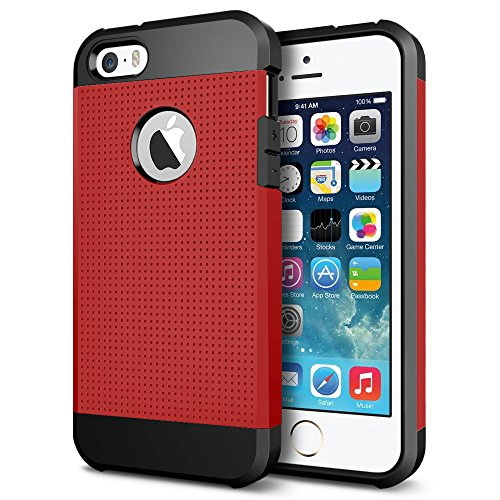 iPhone SE / 5S / 5 Case, LOEV Hybrid Heavy Duty Protective Case, [Dot Design] Tough Rugged PC Armor & Shockproof Rubber Bumper Cover with Air Cushion for Apple iPhone SE iPhone 5S iPhone 5 - Red