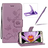 Strap Leather Case for Samsung Galaxy S7 Edge,Purple Wallet Leather Cover for Samsung Galaxy S7 Edge,Herzzer Classic Pretty Butterfly Lotus Drawing Embossed Magnetic PU Leather Foldable Stand Card Holders Smart Telephone Case with Soft Inner