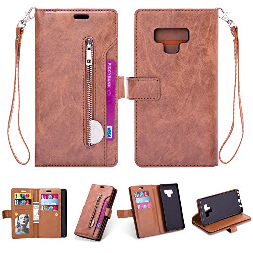 Samsung Note 9 Case,Galaxy Note 9 Wallet Case,FLYEE 10 Card Slots Premium Flip Wallet Leather Magnetic Case Purse with Zipper Coin Credit Card Holder Cover for Samsung Galaxy Note 9 Brown