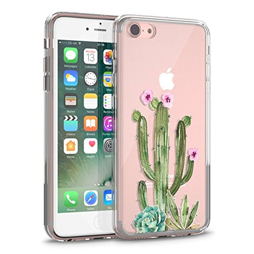 iPhone 7 Case, iPhone 8 Clear Case, CASESOCIETY Floral Cactus Succulent Clear Design Transparent Plastic Hard Back Case with TPU Bumper Rubber Protective Case Cover for iPhone 7 (4.7 Inch)